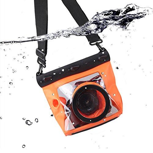 Meiwo 20m DSLR Unterwasser Universal Wasserdicht Gehäuse Hülle Wasserdichter Kameratasche Tasche Entworfen für Outdoor / Unterwasser Aktivitäten Kompatibel für Canon / Nikon / Fuji / Pentax / Samsung / SONY / Panasonic Und andere Marken(Orange)