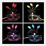 UChic 4PCS Partei-Masken-Feder-Spitze-Blumen-Maskerade-Ball-Karnevals-Kostüm-Tanzen-Partei-Masken-Mädchen-Partei-Königin-Maske an der Farbe nach dem Zufall