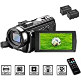 Camcorder Videokamera HD 1080P 24MP Video Camcorder, 16X Digitalzoom Kamera, 3,0 Zoll LCD Bildschirm, vlogging Kamera, Digitalkamera mit Fernbedienung, 2 Batterien (201)