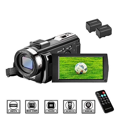 Camcorder Videokamera HD 1080P 24MP Video Camcorder, 16X Digitalzoom Kamera, 3,0 Zoll LCD Bildschirm, vlogging Kamera, Digitalkamera mit Fernbedienung, 2 Batterien (201) -