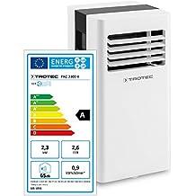 TROTEC PAC 2300 X - Condizionatore d'aria locale con 2 livelli di ventilazione, Display a LED, Funzione timer, 2,3 kW / 8.000 Btu, Bianco