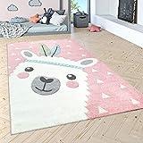 Paco Home Kinderteppich Kinderzimmer Moderne Pastell Farben, Niedliche Motive, 3D Effekt, Grösse:140x200 cm, Farbe:Pink