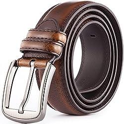 Katusi 13 Cinturón de Cuero de uso en negocio y ocio cinturón de moda cuero de vacuno 3.8cm de ancho (115cm, 1)
