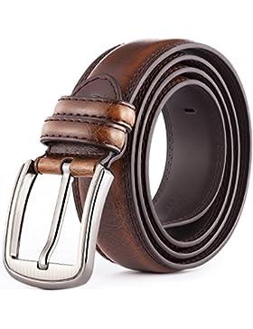 Katusi Hombres Hebilla del Pin Cinturón Piel Genuina Todos los Tamaños Anchura 3.8cm Marrón kts13