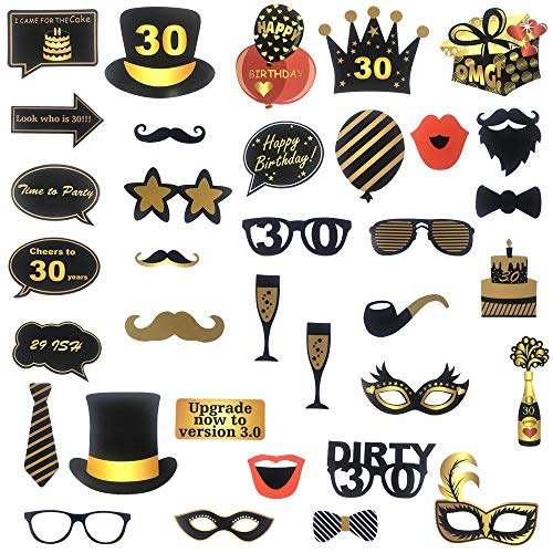 Tuoyi 30th Birthday Party Dekorationsset - Cheers to 30 Years Banner, Sparkling Celebration 30 Hanging Swirls Perfekt 30 Years Old Party Supplies 30th Anniversary Dekorationen Photo Booth Props (Dekorationen 30th Anniversary)