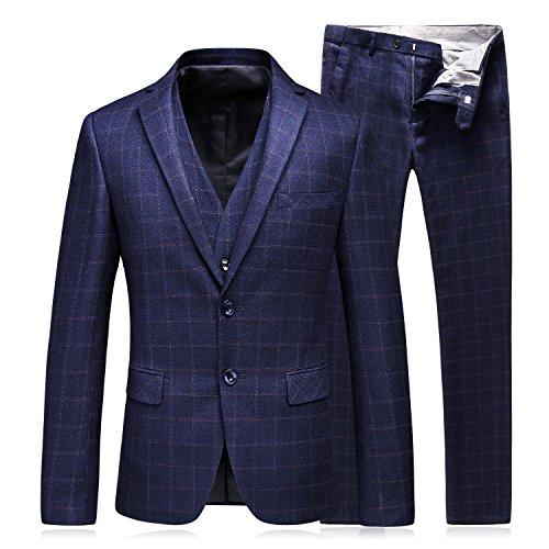 3 Stück Anzug Jacke Weste (MOGU Mens Modern 3 Stück Anzug Plaid 2 Button Blazer Jacke Tux Weste & Hose (Asian 2XL) Navy blau)