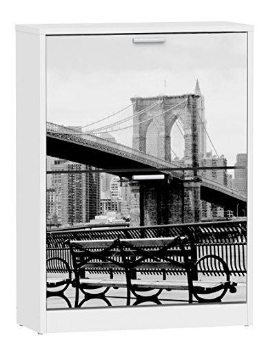 Suarez H329 - Zapatero, 2 niveles, diseño banco NY, 820 x 600 x 242 mm, color blanco