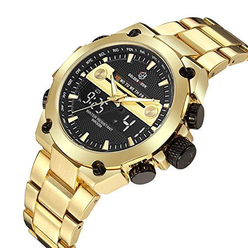 Watches Montre à Quartz Hommes Sport Montres Hommes Full Steel Horloge Militaire Montre étanche en Or Relogio Masculino,Gold