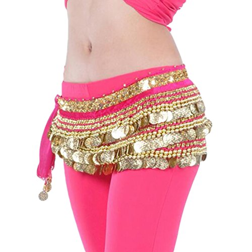 en Bauchtanz Gürtel Berufs Bauchtanz Tanzkleidung Taillenkette Hüfttuch Gürtel Röcke Bauch Tanzen Schal Rose+Goldmünzen (Beruf Kostüme)