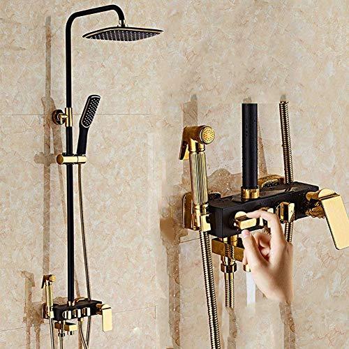 Dusche Europäische All-in-One Kupfer Intarsien Gold Schwarz Top Spray Lifting Set System Bidet 4 Funktion Handheld Regen System Wasserhahn Kompressor Dusche