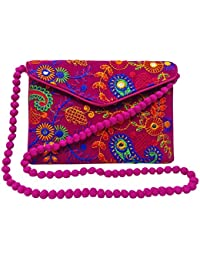 Indische Traditionelle Handtasche Bestickte Kreuz Körperbeutelfrauen Stilvolle Abendtasche