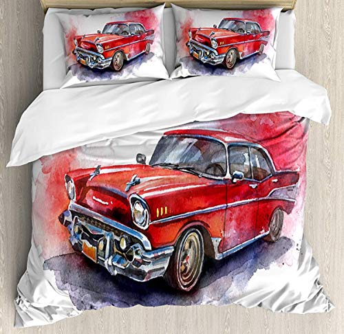 Watercolor Duvet Cover Set Small Double Size, Hand Drawn Old Fashioned Car Antique Motor Vehicle Retro Outdated Abstract Art, Decorative 3 Piece Bedding Set with 2 Pillow Shams, Red Dimgrey -