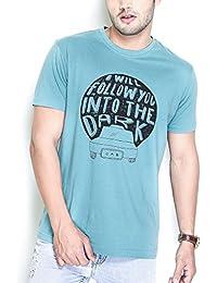 The Glu Affair Men's Cotton Teal Round Neck T-shirt