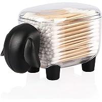 Viewnub Distributeur de cotons-tiges en forme de mouton avec couvercle, noir, Plastique, Noir , 12 x 8.5 x 8 cm