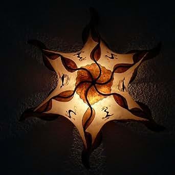 Lampes de henné marocain lampe de mur l'ombre en cuir, couleur brune