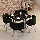 Round Glass Dining Table Panana Glass Dining Table With 4 PU Leather Chairs Set Round Tempered Glass Space Saver Black