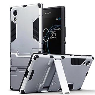 Terrapin, Kompatibel mit Sony Xperia XA1 Hülle, Silikon + Polycarbonat Tasche mit Standfunktion - Silber