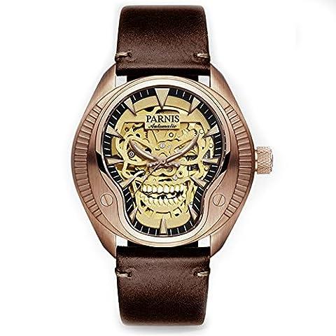 Homme lumineux Tête de mort montre automatique 40mm cristal Saphir Parnis Cool Montre-bracelet