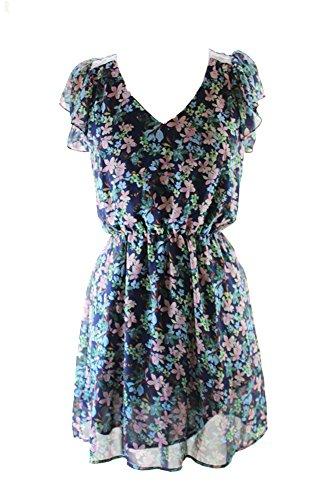 Maison Jules Blue Notte Combo Flutter Sleeve V-Neck Floral-Print Dress S (Floral Dress Sleeve Flutter)