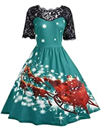 DAYLIN 1PC Womens Plus Size Christmas Party Ladies Vintage Xmas Swing Lace Dress