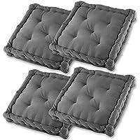 Gräfenstayn set de 4 cojines, cojines para silla de 40 x 40 x 9 cm para interior y exterior de 100 % algodón - diferentes colores - acolchado grueso, cojín acolchado / cojín para el suelo - con sello Öko-Tex Standard 100 (Antracita)