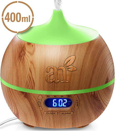 ArtNaturals Essential Oil Diffuser and Humidifier with Bluetooth Speaker Clock and Alarm US PLUG NOT EURO- Electric Cool Mist Aromatherapy 7 Color LED Lights, 400 mL