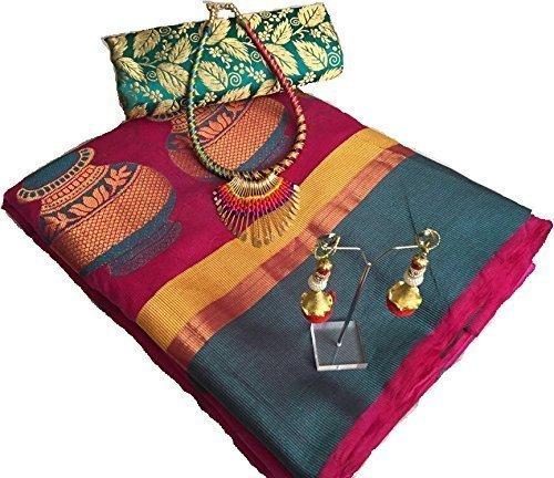 Fabattic Women's Tassar Silk Saree With Blouse Piece (Chi141, Multi Free Size)