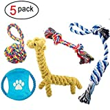 Janlyy Dog Rope Toys Durable Teething Cleaning Chew Cotton Toys Set for Puppy Medium Dogs(5 Pack, Random Color)