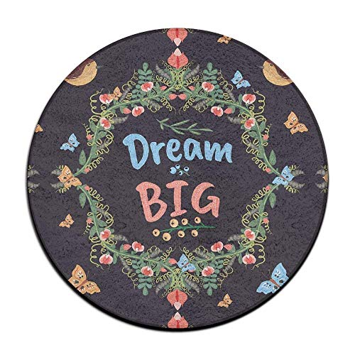 Kotdeqay Retro Doodle Floral Big Dream Soft Coral Velvet Circular General Purpose Floor Mat Or Rug Use In Front of Bedroom, Kitchen,Vanity, Bath Tub, Living Room and Toilet - Floral Bath Vanity