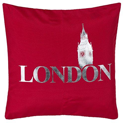 Brandsseller Trendline Kissen Zierkissen Dekokissen Kuschelkissen Silver - London - Rot - MIT FÜLLUNG