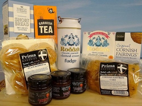 Cornish Hamper - Afternoon Cream Tea Wicker Hamper - Next Day Courier Service
