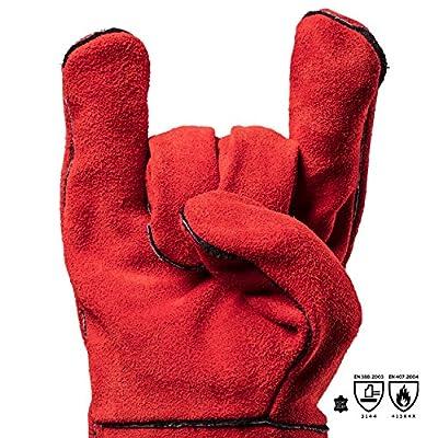 Feuermeister Grillhandschuhe Leder Rot