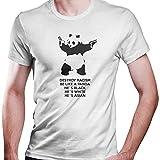 DragonHive Herren T-Shirt Panda Banksy Rassismus Laut gegen Nazis, Größe:XXL, Farbe:Weiß