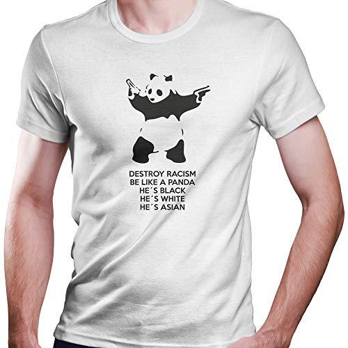 DragonHive Herren T-Shirt Panda Banksy Rassismus Laut gegen Nazis, Größe:M, Farbe:Weiß