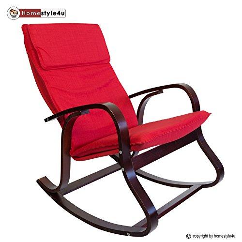 Homestyle4u 543, Schaukelstuhl Schwingsessel Sessel Relaxstuhl, Polster Rot Gestell Holz Braun - Schaukelstuhl Hocker Gepolsterte
