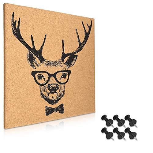 Navaris Kork Pinnwand Korkwand 40x40cm - Pinboard Korkplatte Tafel - Pinwand im Hirsch Design - Korktafel Memo Wand inkl. 6 Pins