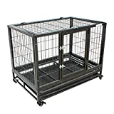 FoxHunter Heavy Duty Pet Dog Puppy Training Cage Crate Carrier Enclosure Metal With