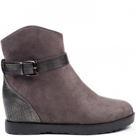 Ideal Shoes - Bottines semi-compensées et bi-matière avec ceinturon effet reptile Talana Gris