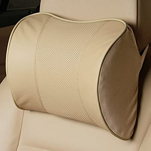 HOMEE Premium Car Appuie-Tête en Cuir Memory Foam Neck Pillow,1