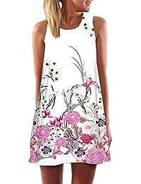 Vestido de mujer- SHOBDW Vintage Boho Mujer Verano sin mangas Beach Printed Mini vestido corto delgado