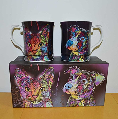 """Juego de tazas de té """"Magic"""" Cats and Dogs, juego con perro y gato, 2 unidades"""