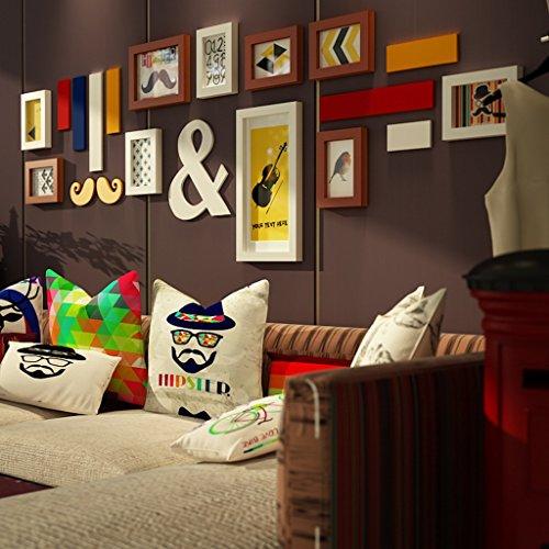 Ensemble de 10 cadres, cadres photo Pine bois cadre extérieur Combinaison fond mur mur photo pour la chambre/avec des images/Creative @The harvest season (Couleur : B)