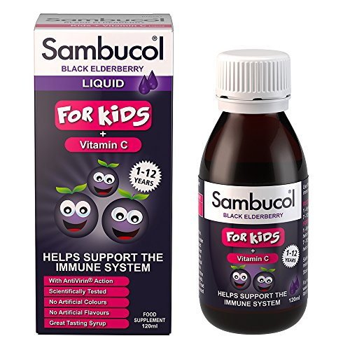 Sambucol Natural Black Elderberry for Kids with Vitamin C, a great tasting Immune System Booster, Cold & Flu Remedy for children - 120ml Test