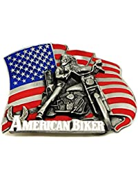 Biker Belt Buckle American Biker Motorcycle & Flag Design Live To Ride Authentic Siskiyou Branded Product