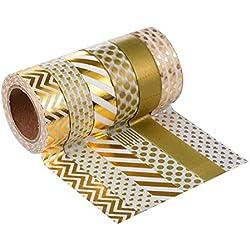 Cinta Adhesiva Decorativa 6 Piezas (Conjunto de Colores 4 dorados)