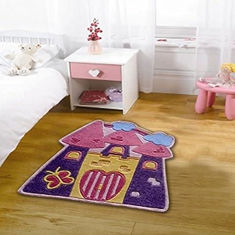 etrading1 Kiddy Play Fairytale Castle Polyester Rug, 90 cm x
