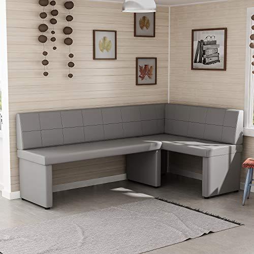 Reboz Eckbank Küchenbank 128 x 168 cm aus Kunstleder Sitzecke (Grau, 168x128cm rechts)