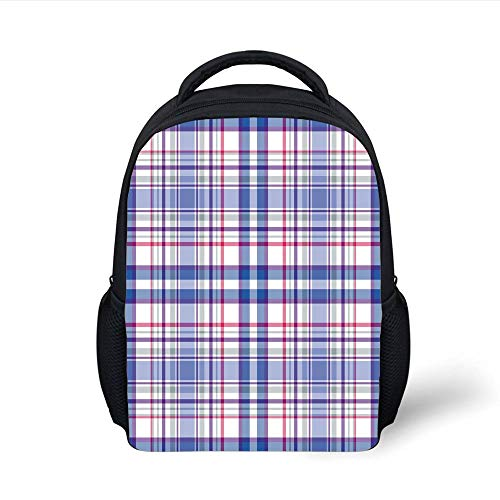 Kids School Backpack Checkered,Country Inspired Old Fashioned Pattern Picnic Theme Light Colors,Violet Blue White Pink Plain Bookbag Travel Daypack Violett Double Old Fashioned
