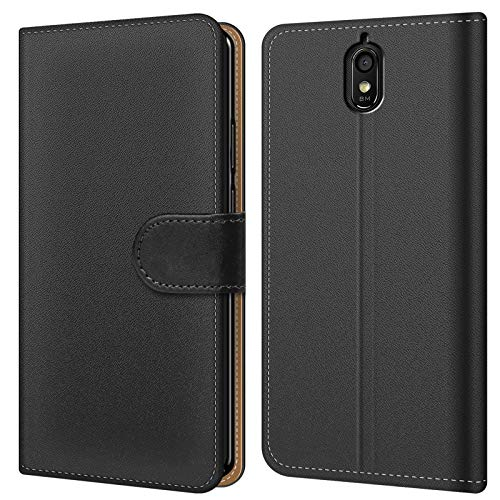 Conie BW14067 Basic Wallet Kompatibel mit Huawei Y625, Booklet PU Leder Hülle Tasche mit Kartenfächer & Aufstellfunktion für Y625 Case Schwarz