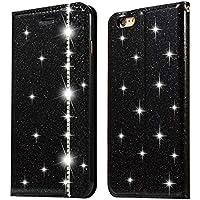 Ostop Glänzend Leder iPhone 6S Hülle,iPhone 6 Schwarz PU Brieftasche Handyhülle, Luxus Diamant Standfunktion Kartenfach... preisvergleich bei billige-tabletten.eu